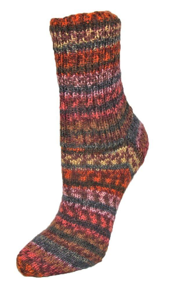 Flotte Socke 4fädig Herbstzauber in lachs-kastanie-hellgelb