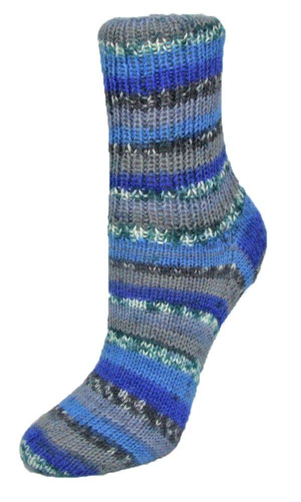 Flotte Socke 4fädig Funny grau-blau-royal