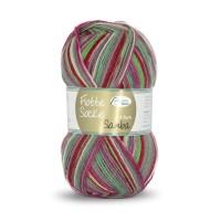 Flotte Socke 4fädig, Samba rosa-rot-grün-grau