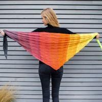 Regenbogen Neon grau-orange-neongelb Dreieckstuch