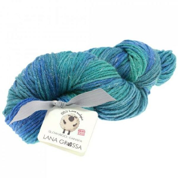 Slow Wool Canapa hand dyed Tintenblau-Petrol-Türkisgrün, Strangwolle