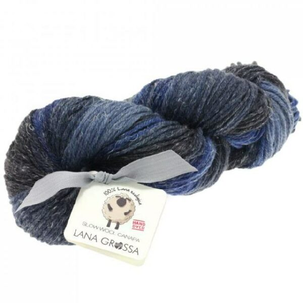 Slow Wool Canapa hand dyed Marine-Jeans-Anthrazit Strangwolle