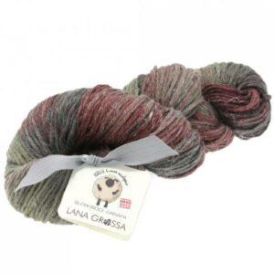 Slow Wool Canapa hand dyed Braunrot-Burgund-Graubraun Strangwolle