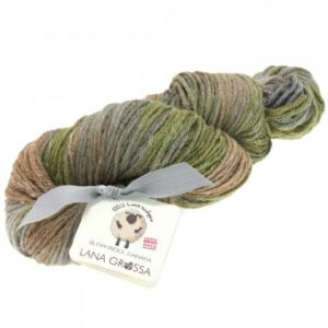 Slow Wool Canapa hand dyed Graubeige-Camel-Khaki Strangwolle