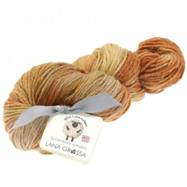Slow Wool Canapa hand dyed Sandgelb/Camel/Orangebraun Strangwolle