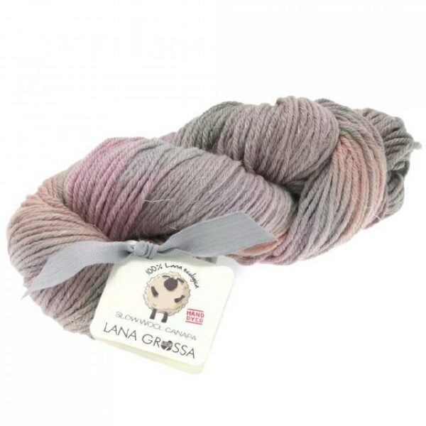 Slow Wool Canapa hand dyed Grège/Pastellrosa/Taupe Strangwolle